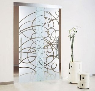 Раздвижные двери с пескоструйным рисунком в квартире (Алые Паруса)