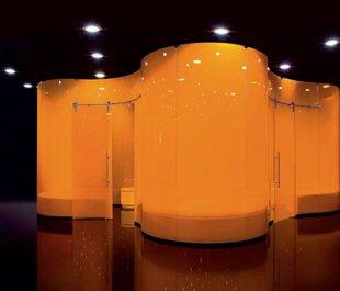 Эксклюзивная моллированная перегородка с раздвижными дверями / стекло 8 мм с оранжевой пленкой